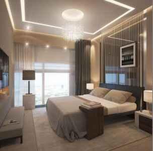 натяжные потолки парящие линии в спальне
